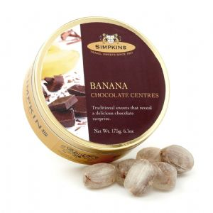 Banana Chocolate Centres - Simpkins Traditional Travel Sweets Tin 175g